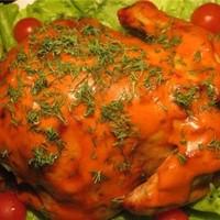 Курица с кизиловой начинкой на вертеле в духовке по-грузински