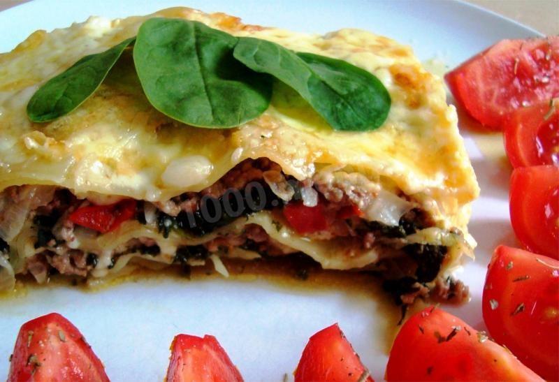 лазанья с сыром и шпинатом фото рецепт
