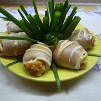 Рулет кальмары фаршированные грибами и рисом