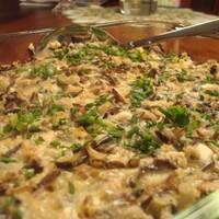 Яичница с диким рисом и грибами