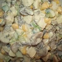 Салат Зодиак с курицей и грибами и огурцами