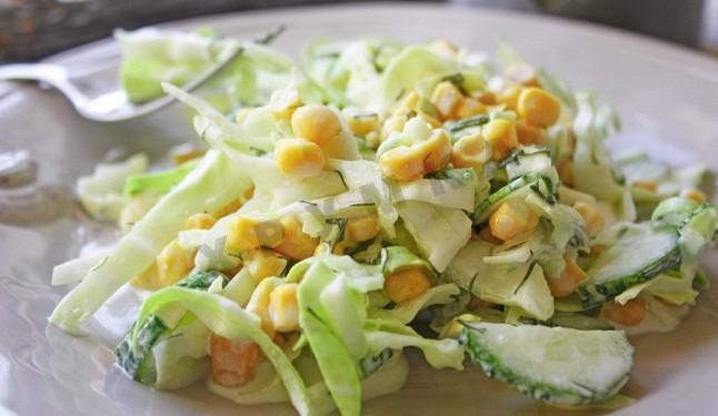 Салаты с капустой и кукурузой рецепты