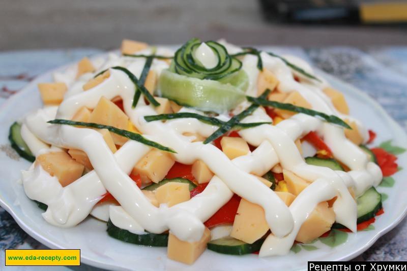 Салат из сыра колбасы и пекинской капусты рецепт