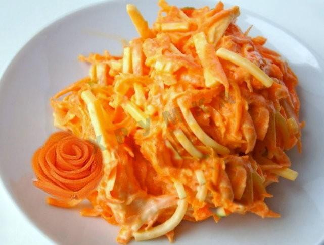Салат с сыром и морковкой по-корейски