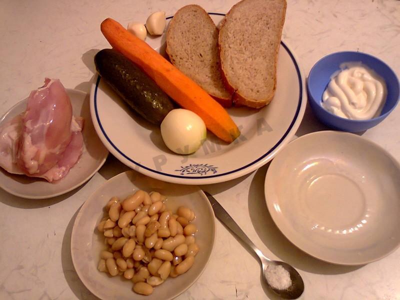 Салат с консервированной фасолью пошагово с фото
