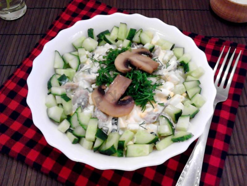 салат царский рецепт с огурцы свежие и шампиньонами