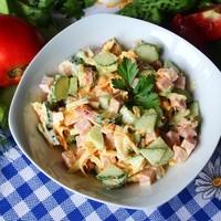 Салат простой с ветчиной морковью сыром