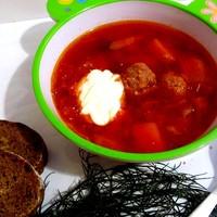 Борщ Сибирский с фрикадельками и томатной пастой