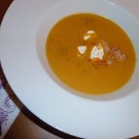 Суп пюре из тыквы помидоров и морепродуктов
