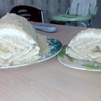 Торт творожный домик из печенья с бананом