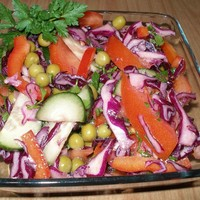 Салат из краснокочанной капусты с овощами