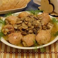 Курица в сливках в духовке с грибами