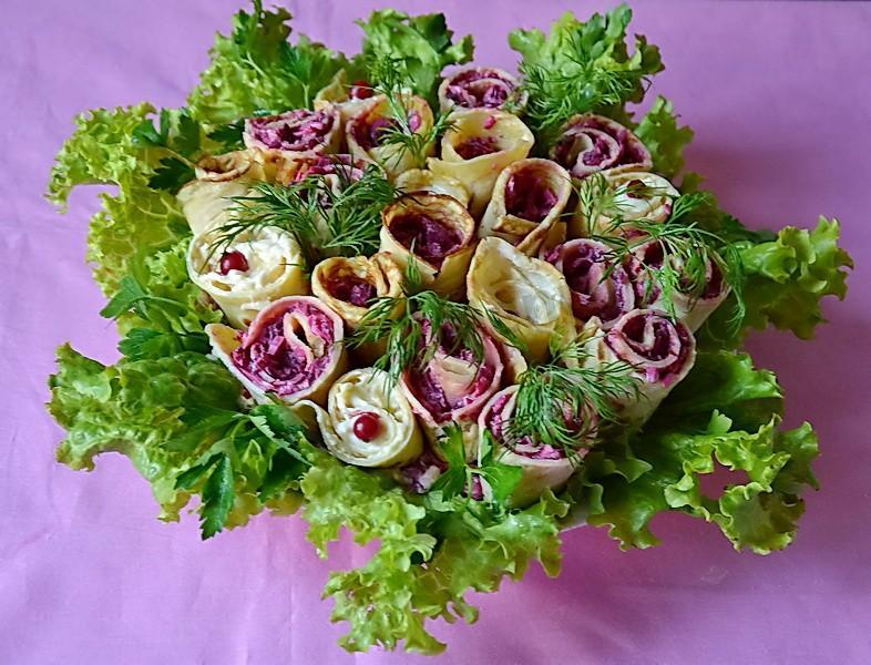 Салат букет роз рецепт с фото