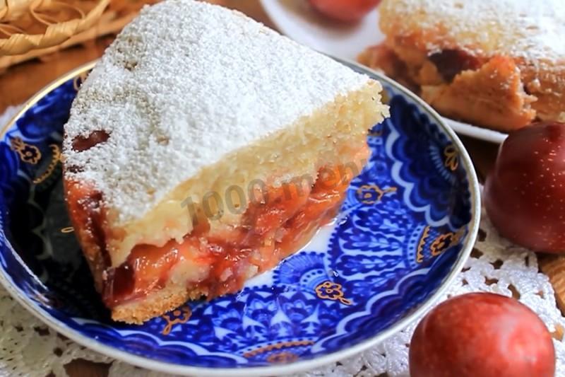 Пирог со сливами на кефире рецепт пошагово