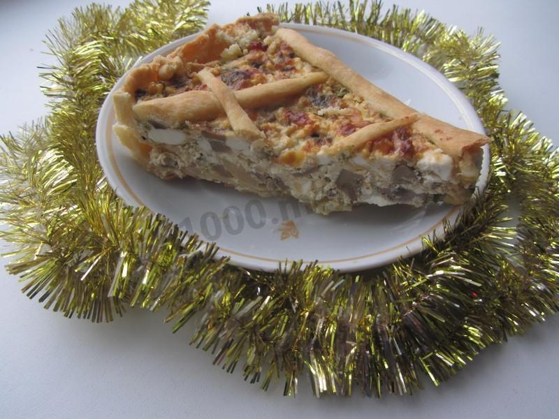 сырный пирог с луком и шампиньонами рецепт