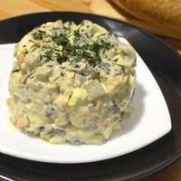 Салат Елена из печени с сушеными грибами