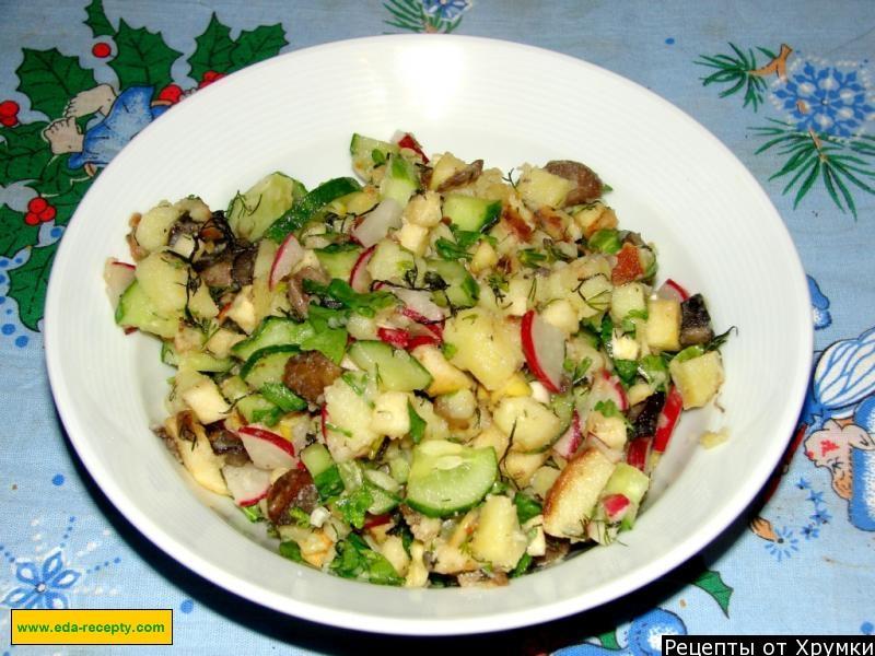 Рецепт салата из жареных шампиньонов с фото
