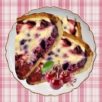 Сметанный пирог с замороженными ягодами вишни