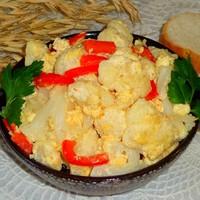 Омлет с зеленым луком и черри на сковороде - рецепт пошаговый с фото