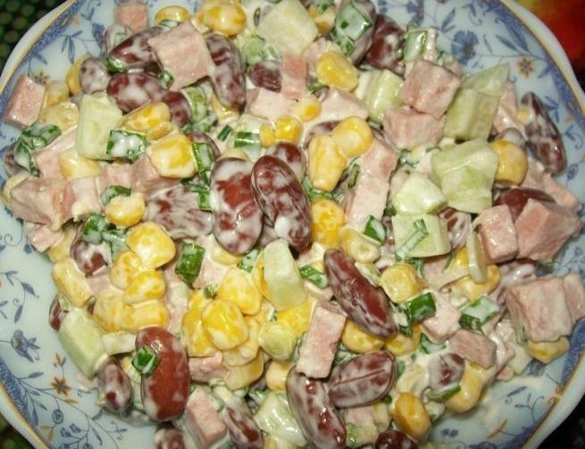 98Салат с сухариками красной фасолью кукурузой и сухариками рецепт