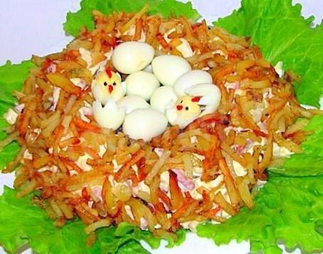 салат перепелиное гнездо рецепт с фото пошагово