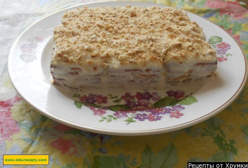 Торт из печенья и творога без выпечки