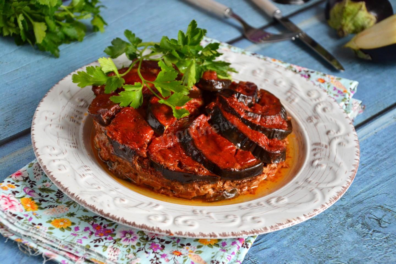 Баклажаны с мясом запеченные в духовке