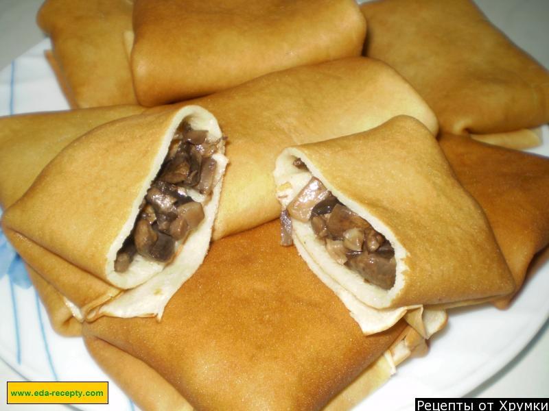 Блины с грибами рецепт с пошаговым фото