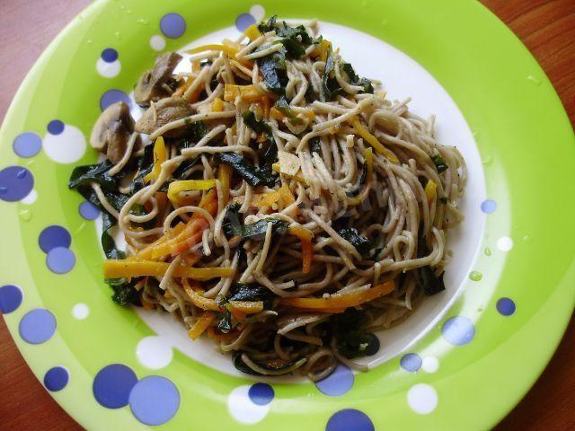 Гречневая лапша с овощами фото пошагово в