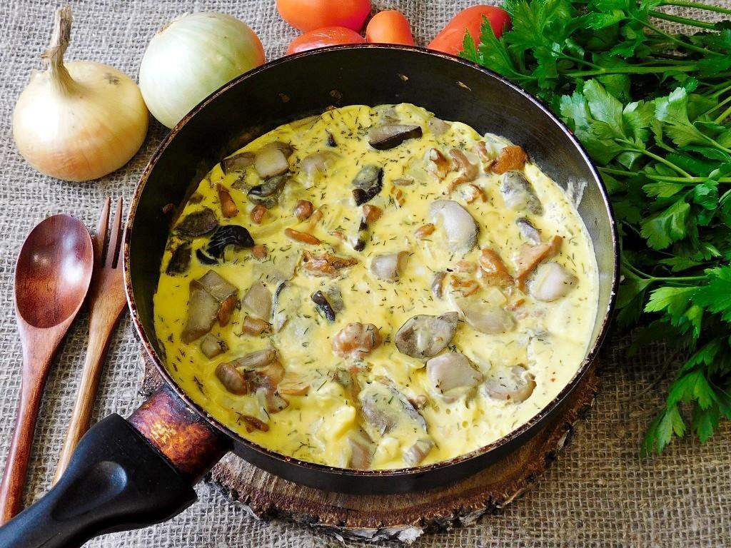 Сытная яичница с грибами - рецепт пошаговый с фото