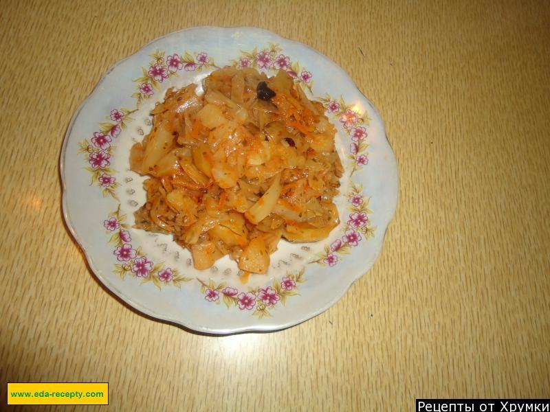 тушеная капуста с картошкой рецепт пошагово с фото