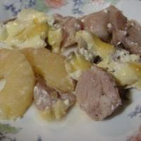Курица с ананасами и грибами