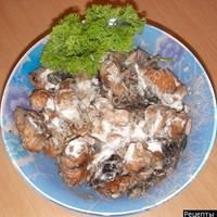 Жареная горбуша с грибами