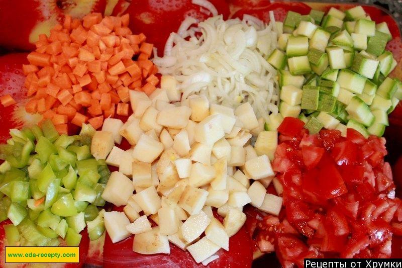 Овощное рагу с баклажанами и кабачками и картошкой рецепт с мясом