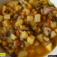 Грибной суп с мясом из шампиньонов