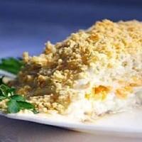 Салат Мимоза с консервированным лососем