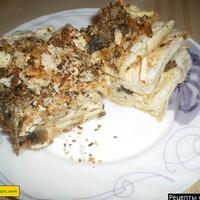 Закусочный торт наполеон с шампиньонами