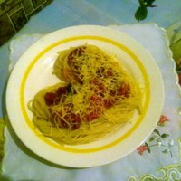 Спагетти с сыром помидорами и баклажанами