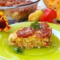 Тыквенно-рисовая запеканка с помидорами