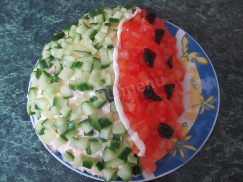 Салат арбузная долька с курицей без грибов пошаговый рецепт