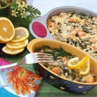 Рисовая запеканка с лососем и фасолью