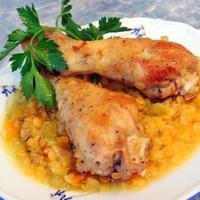 Жаркое из курицы с чечевицей