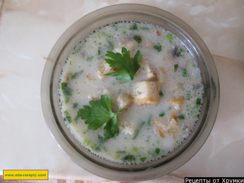 Приготовить сырный суп из копченой курицы