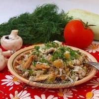 Перловка на гарнир с кабачками, грибами, курицей