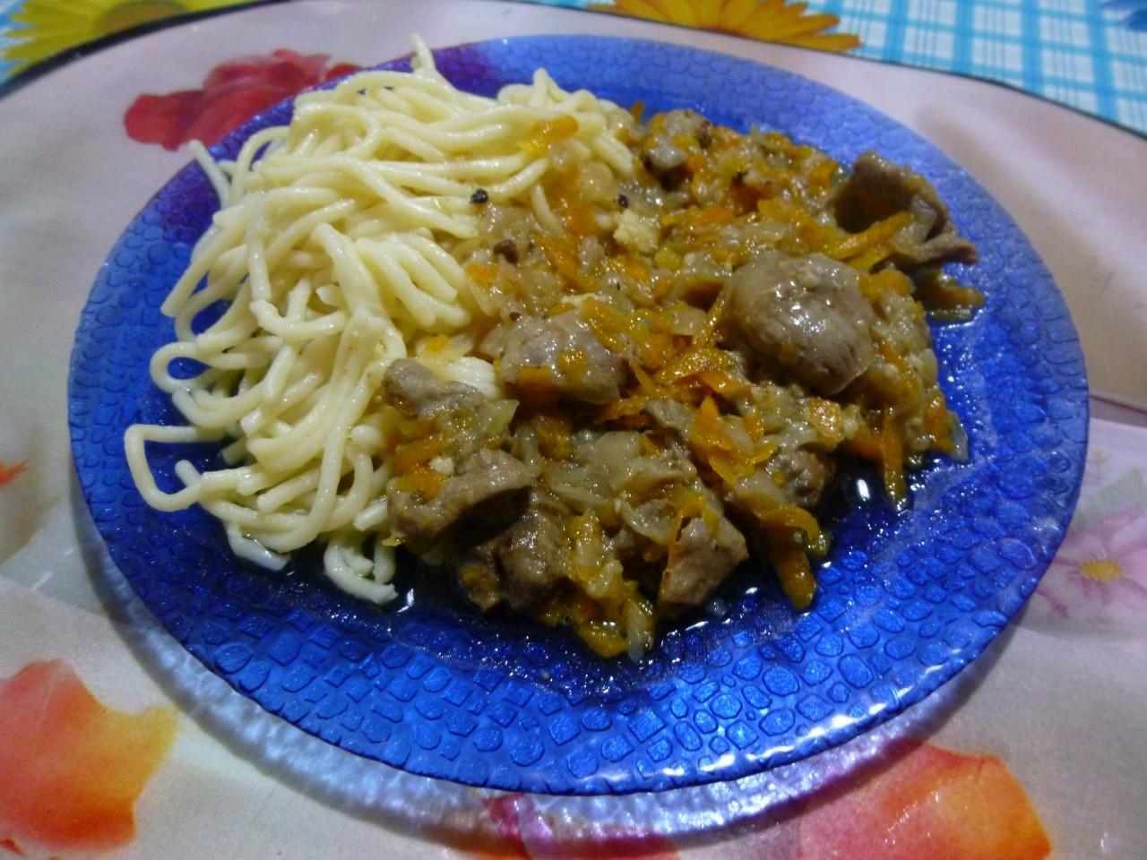 Желудки куриные с лапшой рецепт пошагово